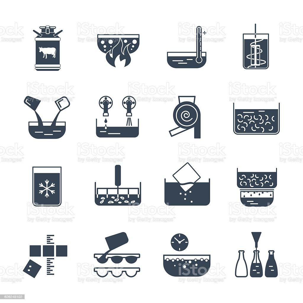 set of black icons manufacture of dairy products production proc vector art illustration