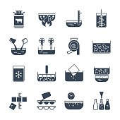 set of black icons manufacture of dairy products production proc