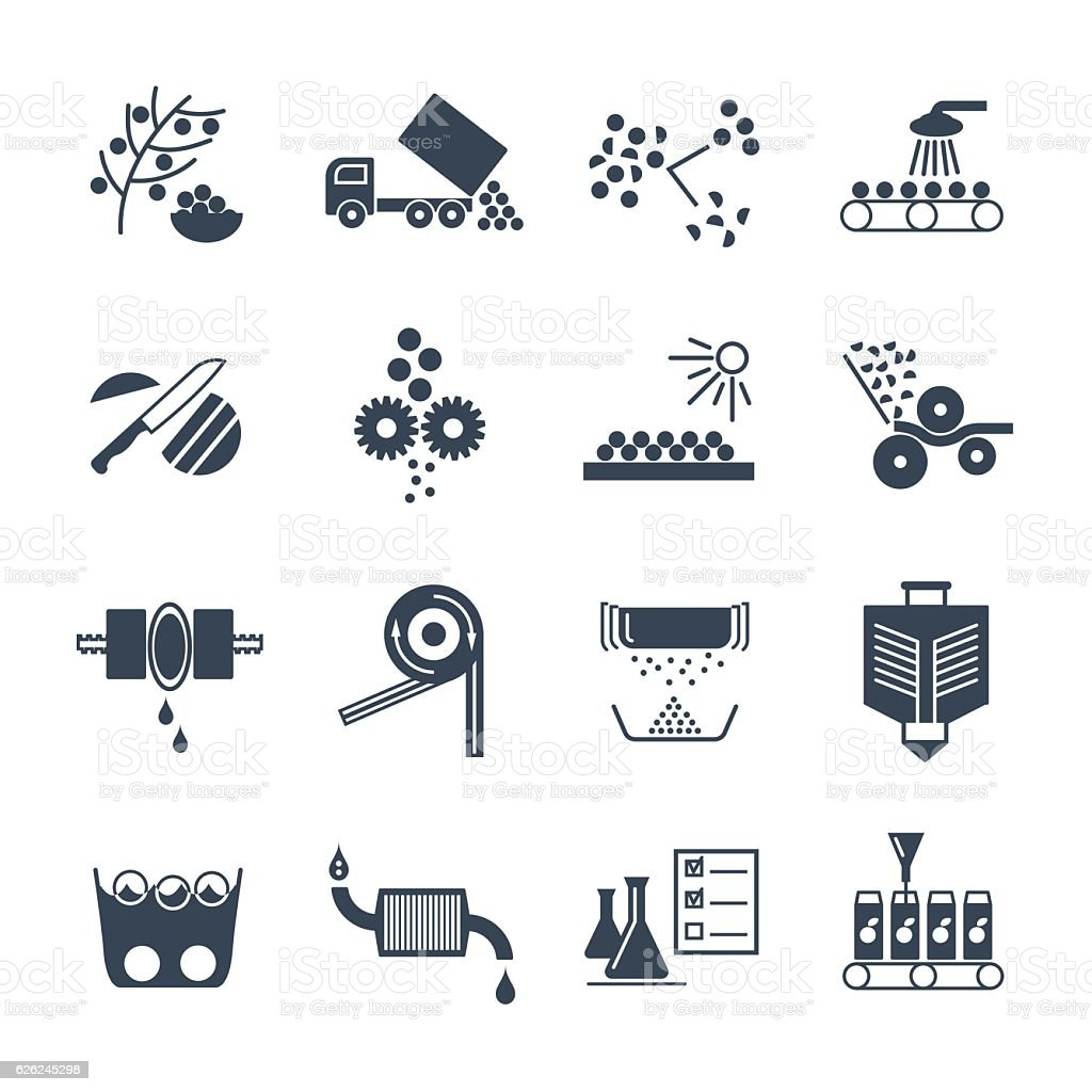 set of black icons manufacture of juice production process vector art illustration