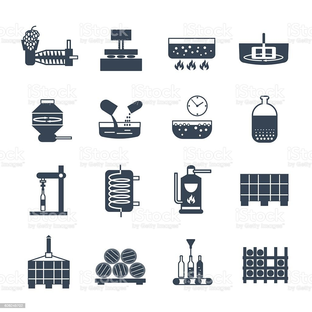 set of black icons manufacture of wine production process vector art illustration