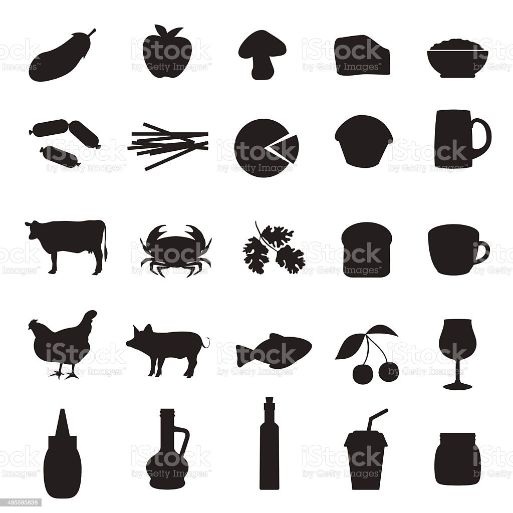 Set of black icons of different type of food and drinks vector art illustration