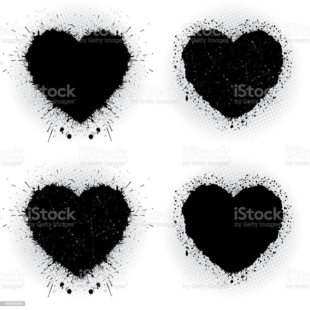 Set of black ink hearts. vector art illustration