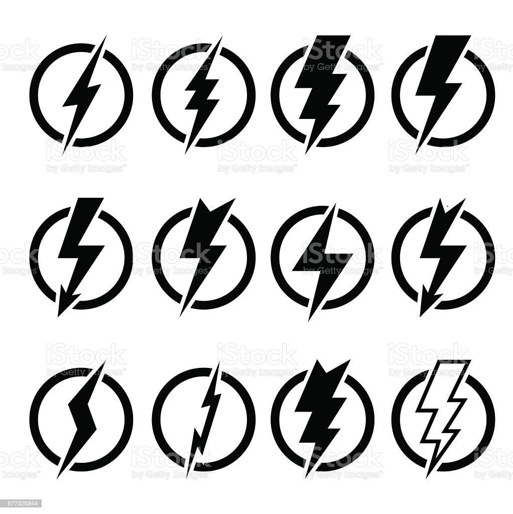 Set of black lightning bolts and signs vector art illustration