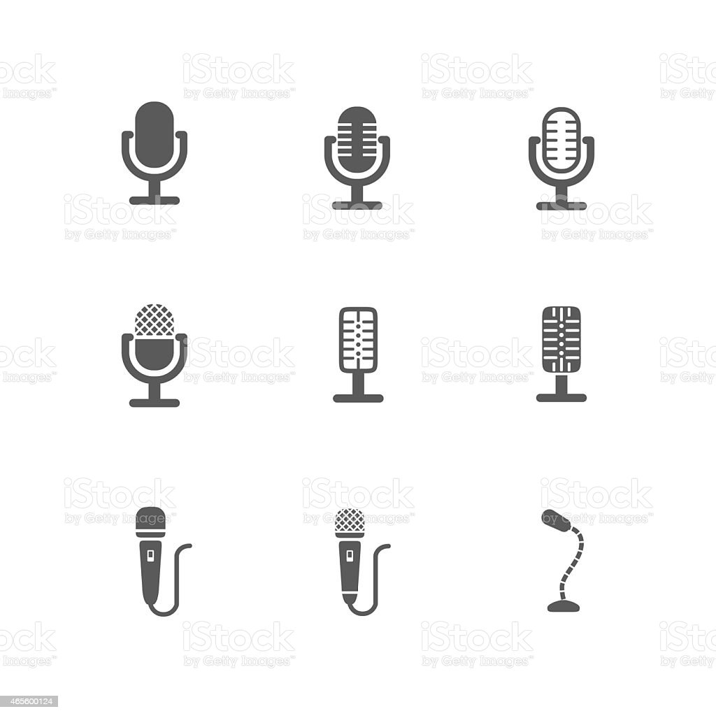 Set of Black Microphone Icons Design vector art illustration