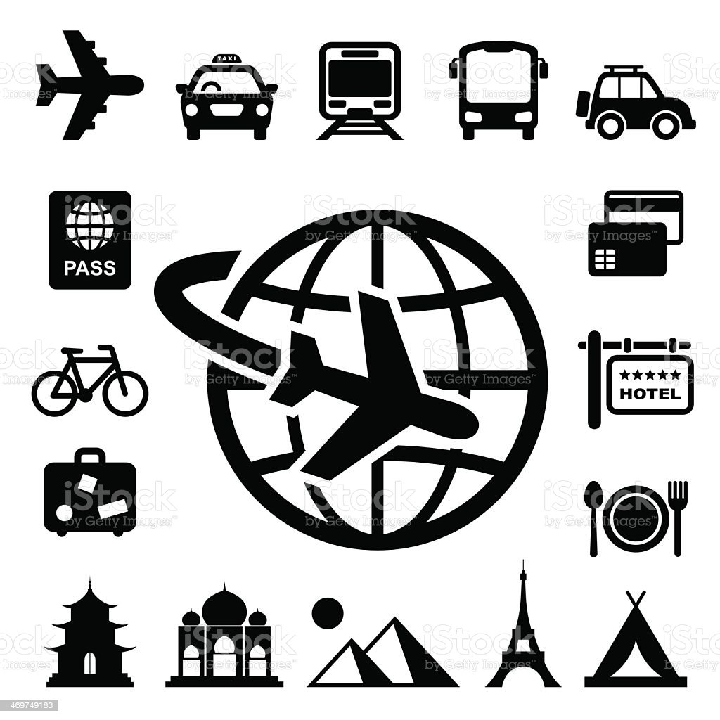 Set of black monochromatic travel and vacation related icons vector art illustration