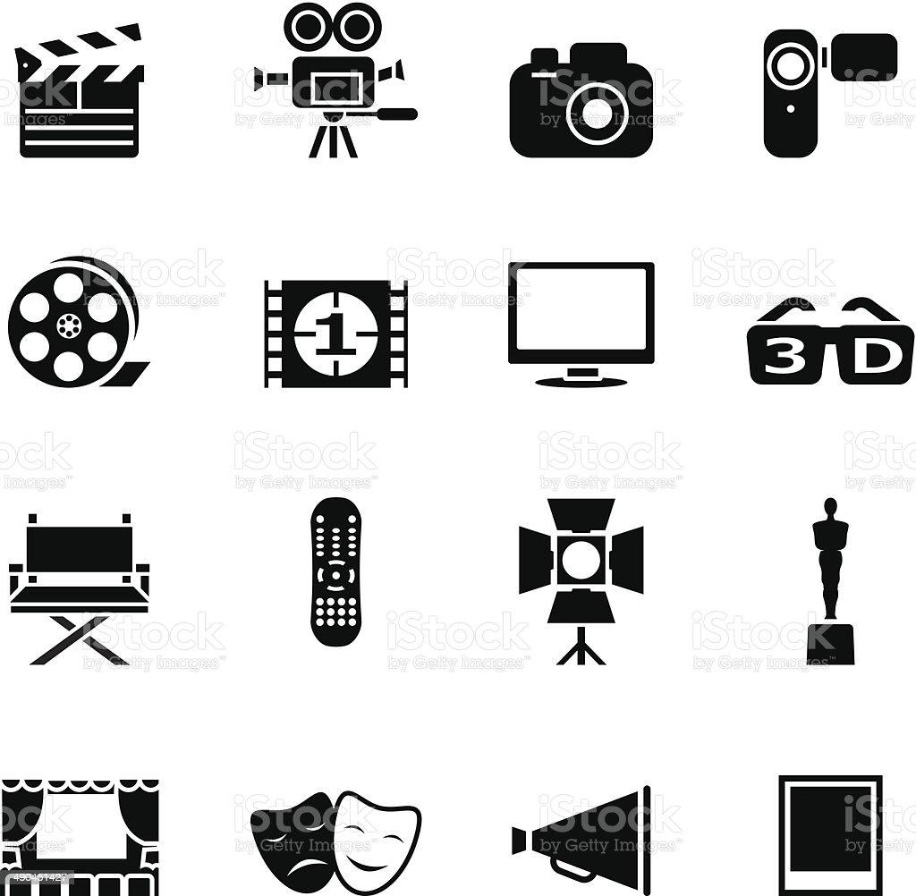 Set of black movie icons vector art illustration