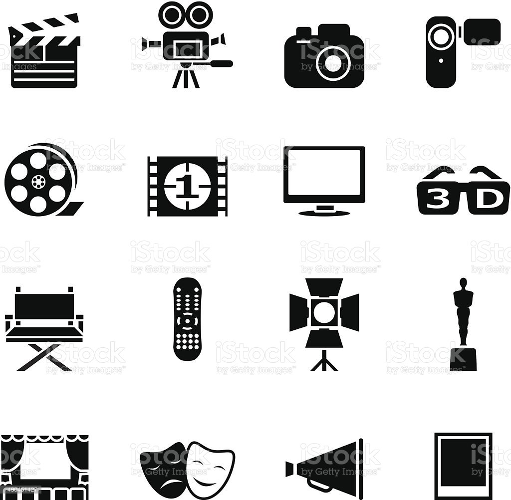 Set of black movie icons vector art illustration