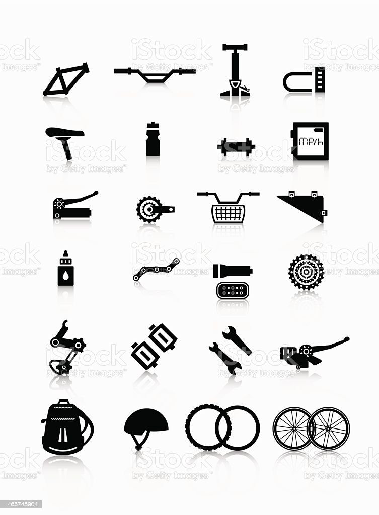 Set of black on white cycling themed vector graphic icons vector art illustration