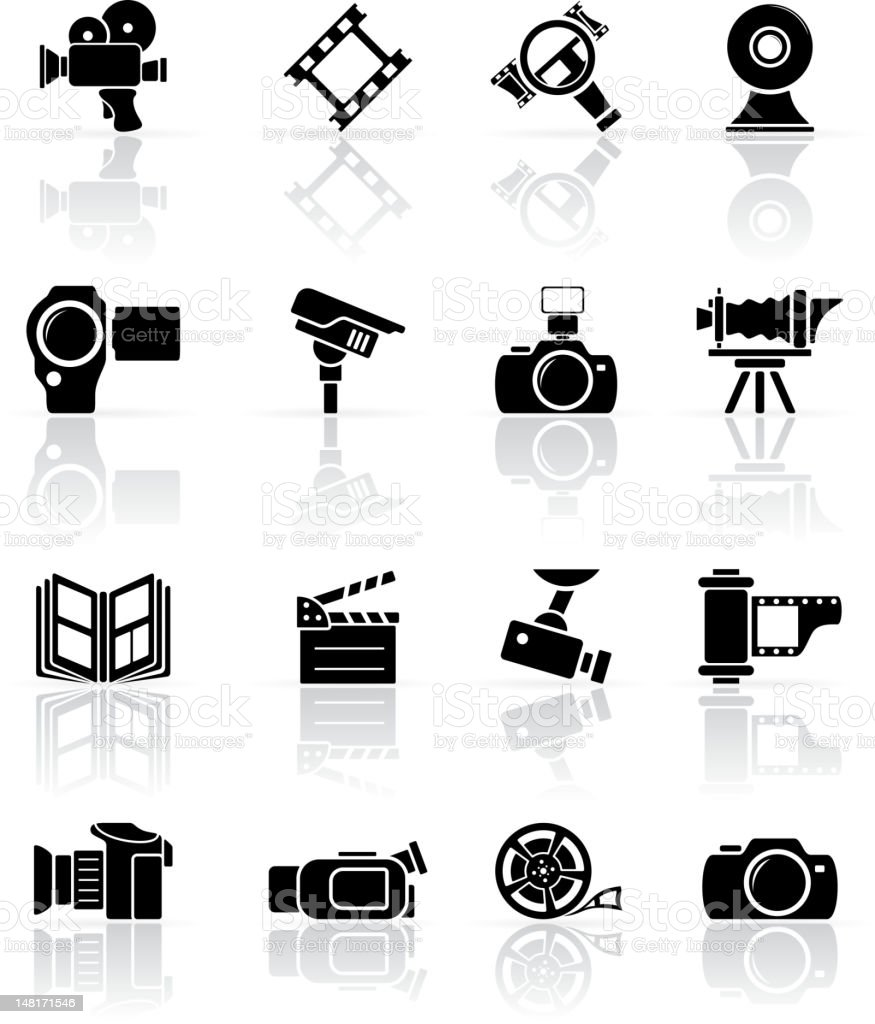 Set of black photo-video icons vector art illustration