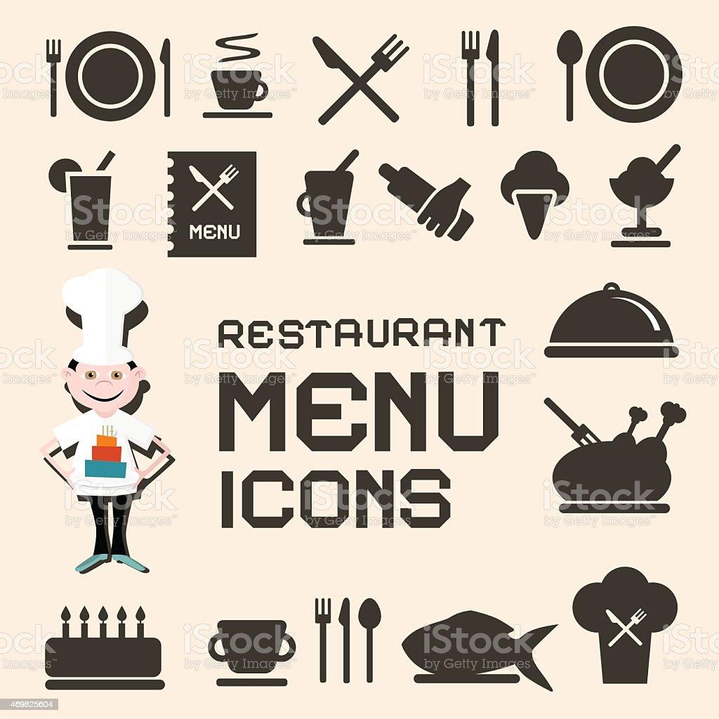 Set of black restaurant menu icons on beige background vector art illustration