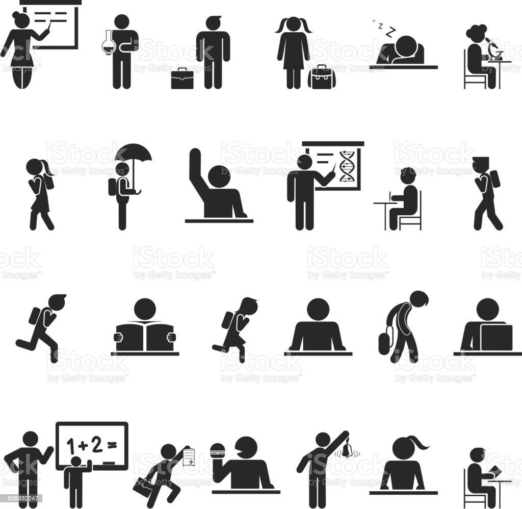 Set of black school children silhouette icons vector art illustration