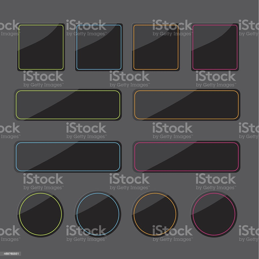 Set of black shiny web buttons with colored lines. royalty-free stock vector art
