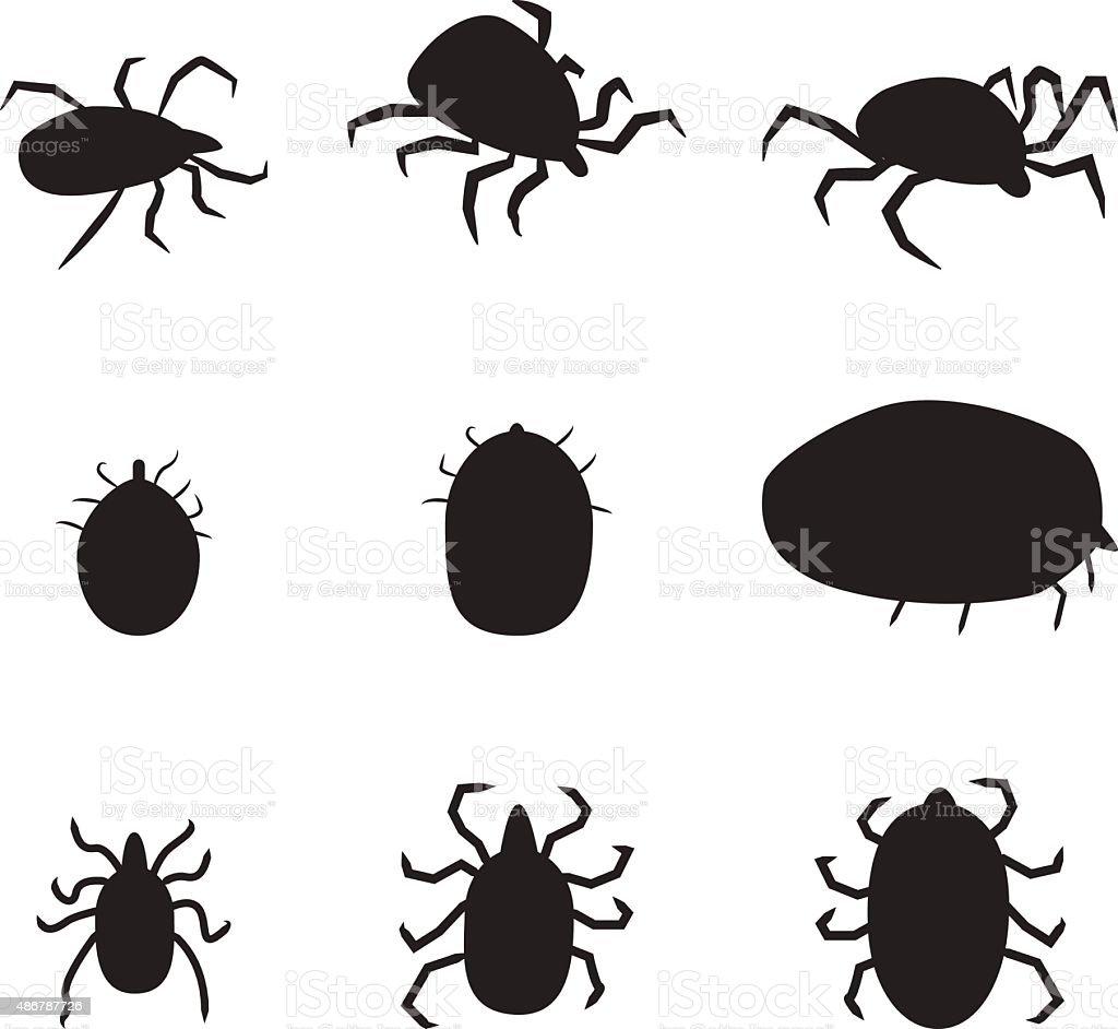 Set of black silhouette dog tick icon. isolated vector illustrat vector art illustration