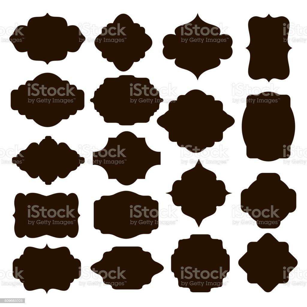 Set of black silhouette frames for badges vector art illustration