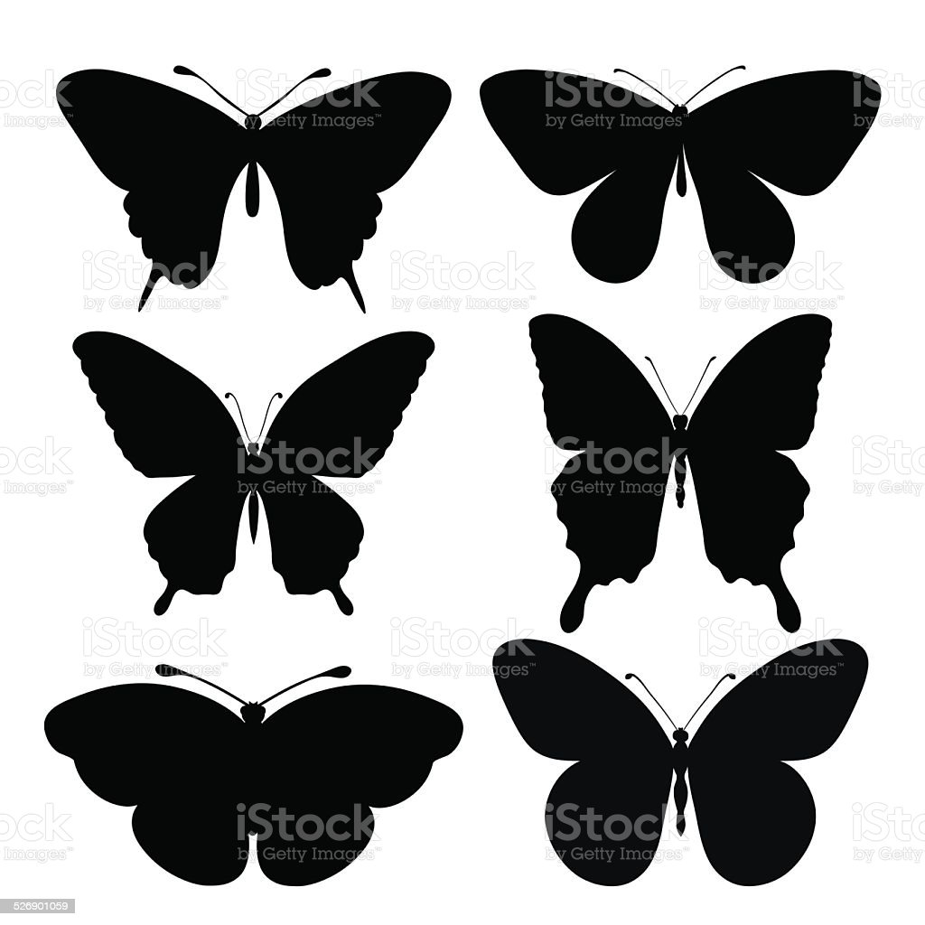 set of black silhouettes of butterflies vector art illustration