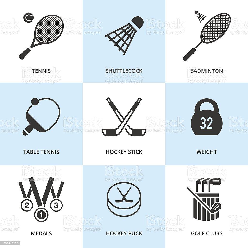 Set of black sports icons. vector art illustration