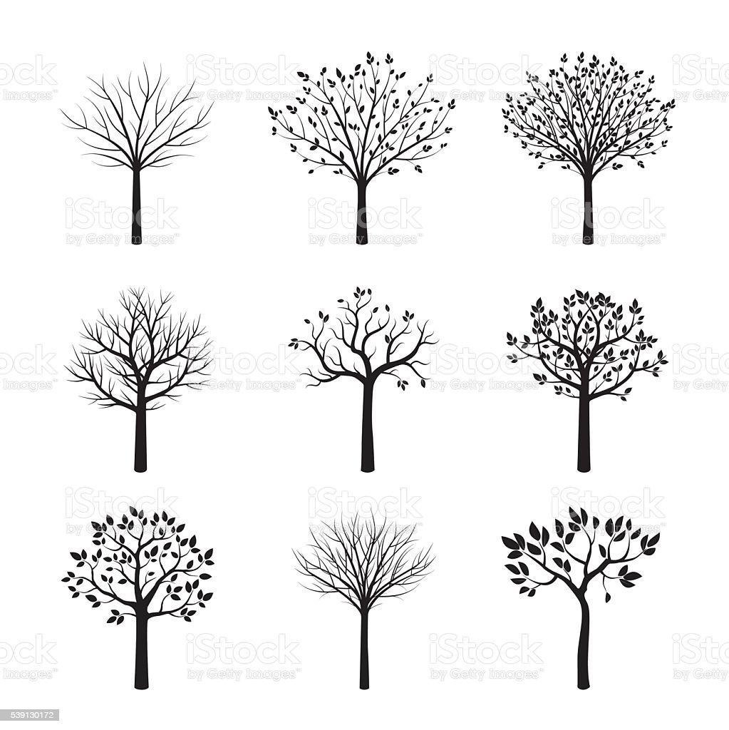 Set of Black Trees. Vector Illustration. vector art illustration