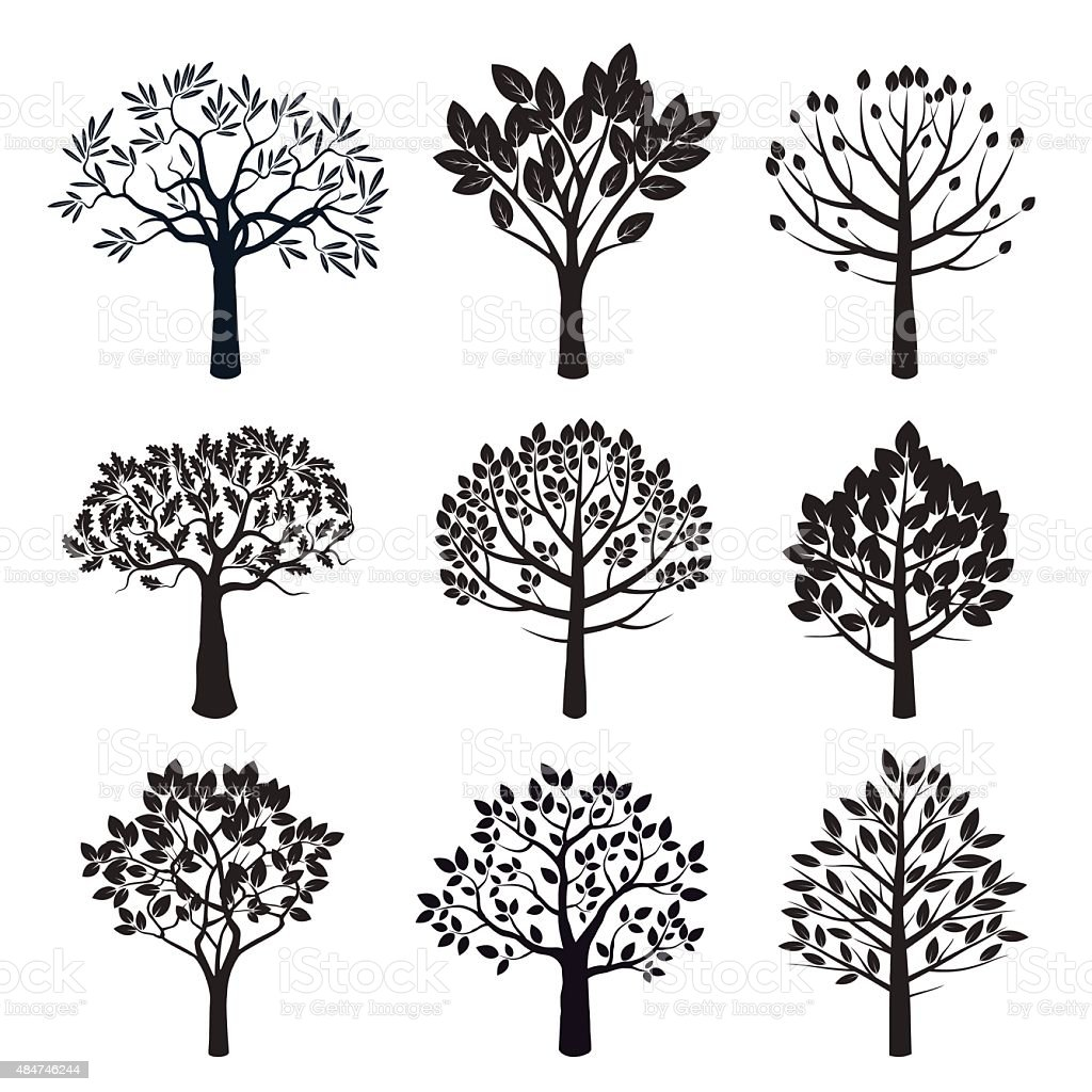 Set of black vector plants and trees vector art illustration
