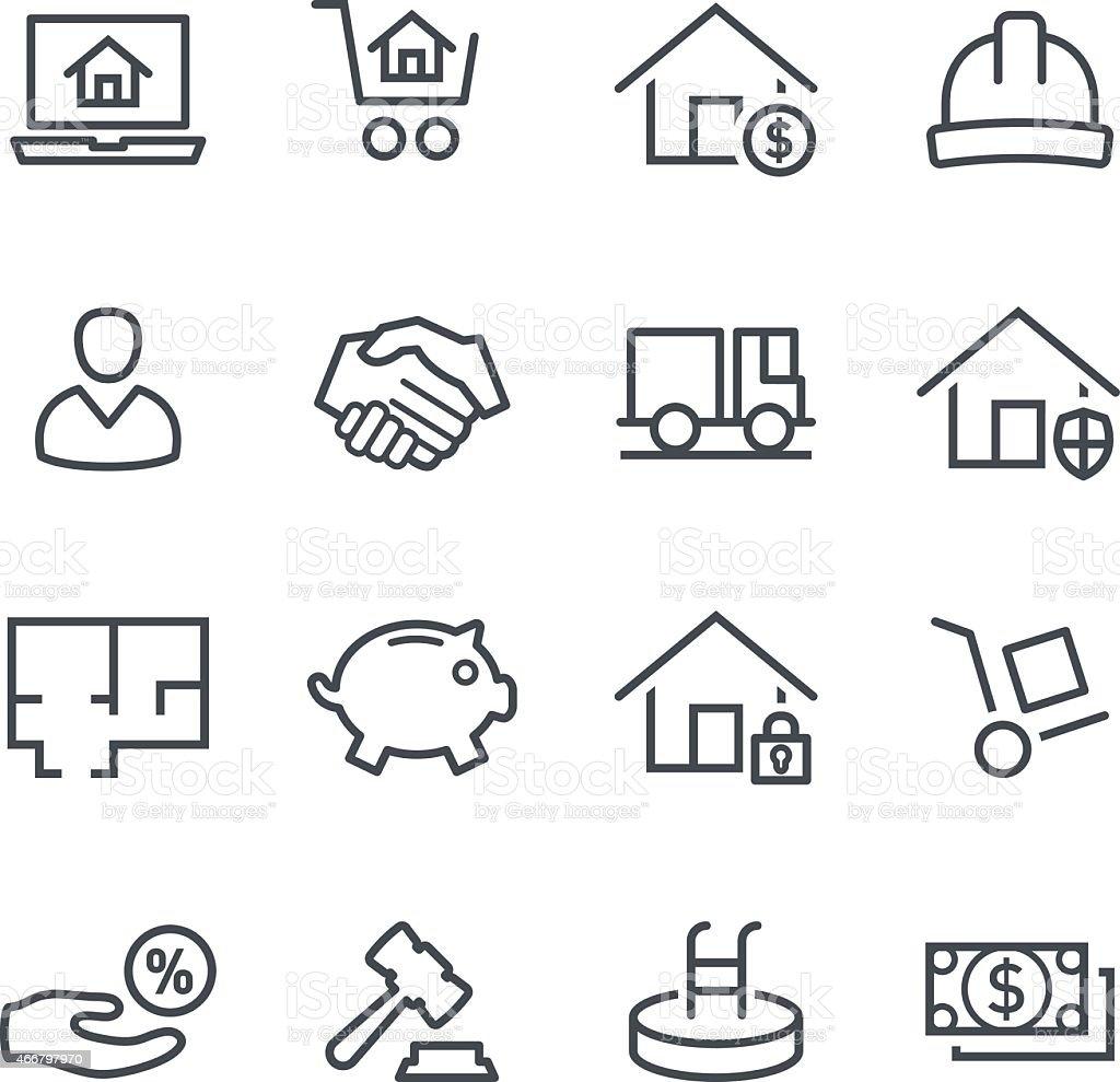 Set of black vector real estate icons vector art illustration
