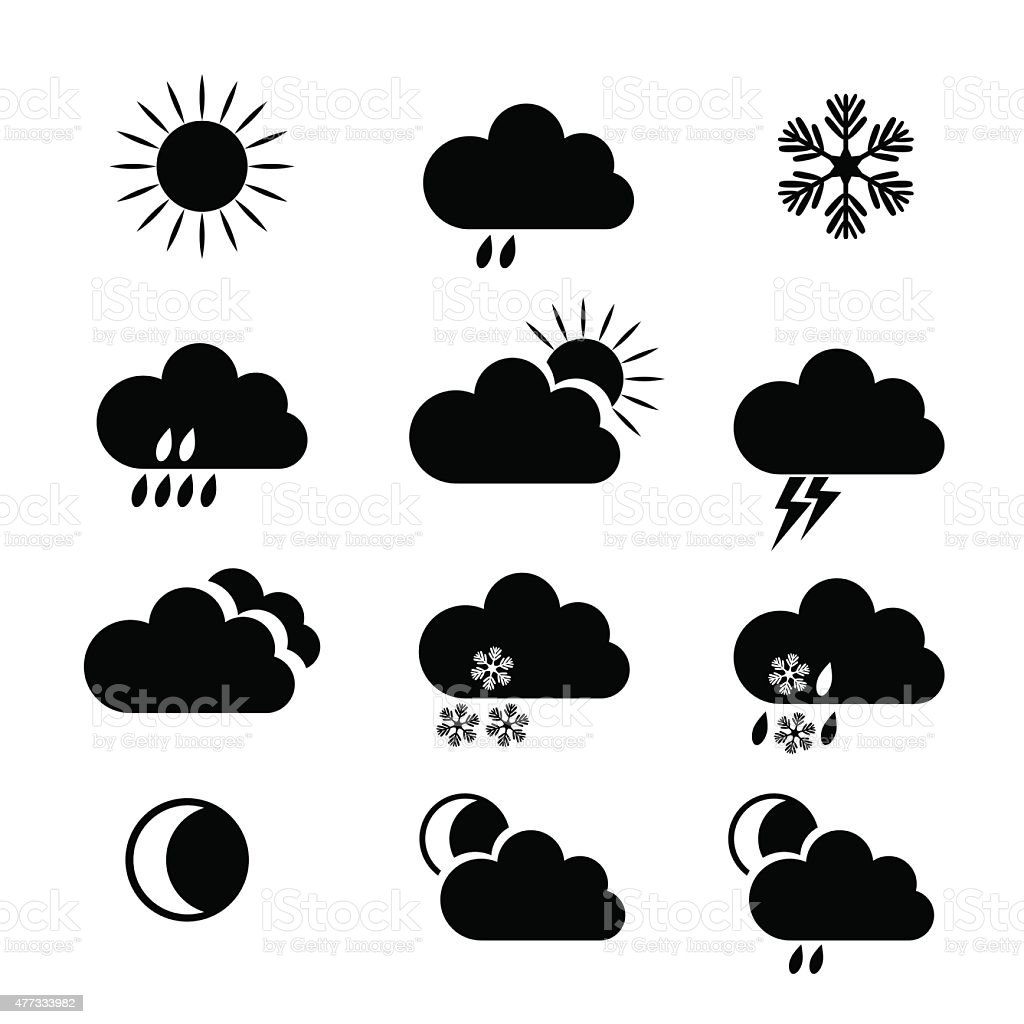 Set of Black Vector Weather Icons. vector art illustration