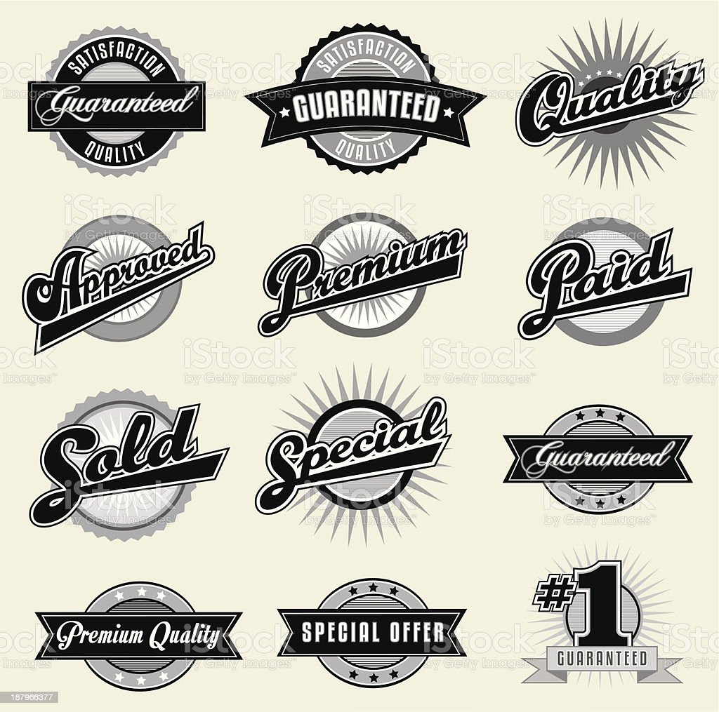 Set of Black Vintage Labels royalty-free stock vector art