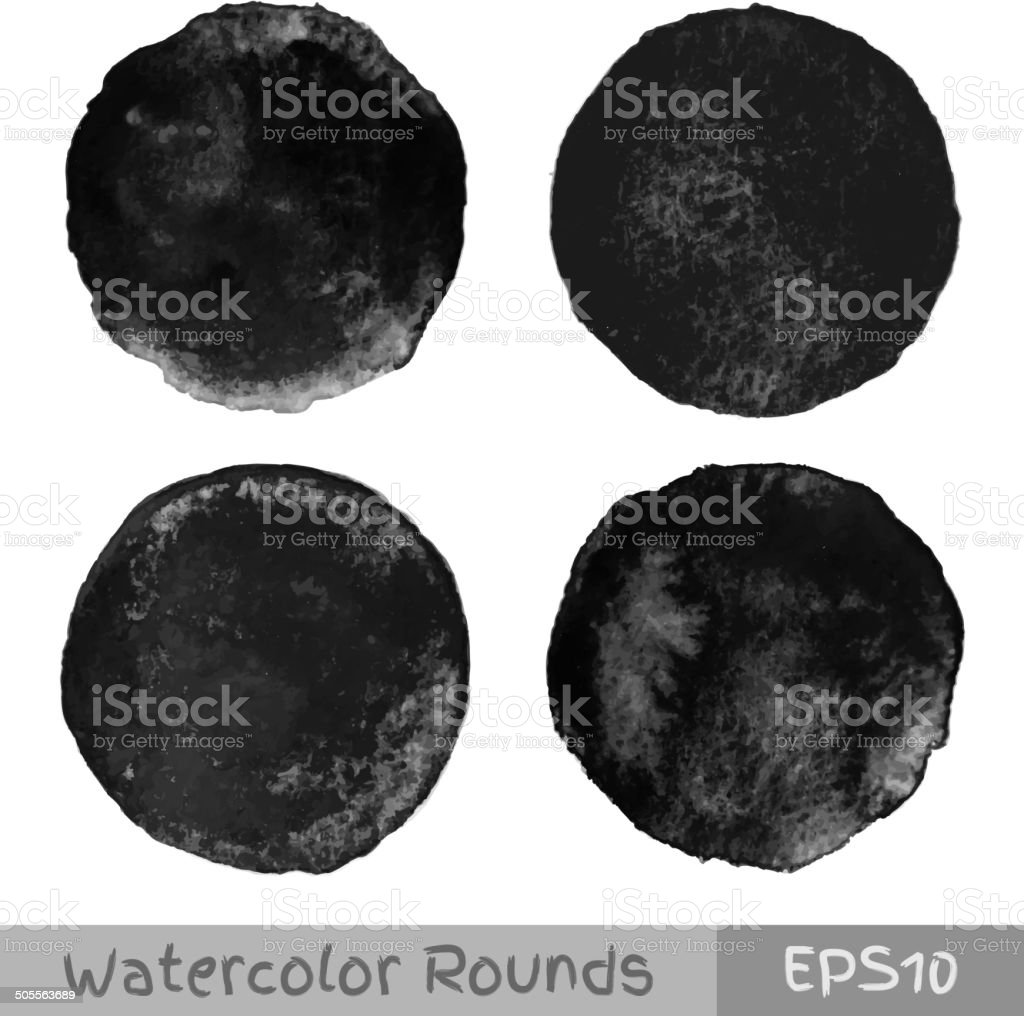Set of black watercolor circular backgrounds vector art illustration