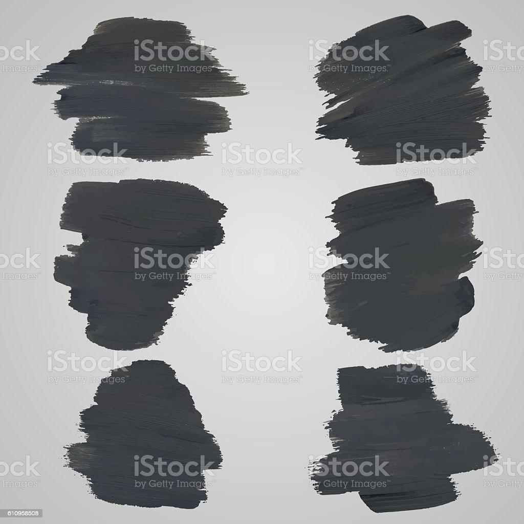 Set of black watercolor spots for design on grey background vector art illustration