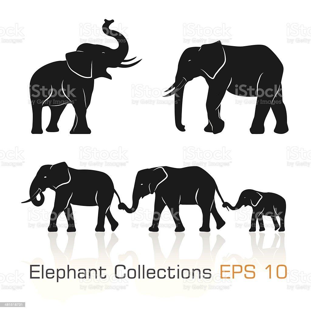 Set of black & white elephants in different poses vector art illustration
