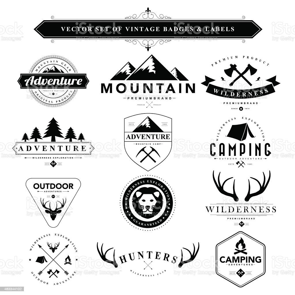 Set of black & white vintage badges and labels vector art illustration