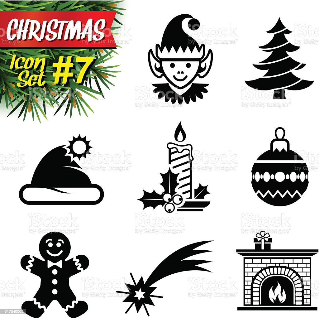 Set of black-and-white christmas icons vector art illustration