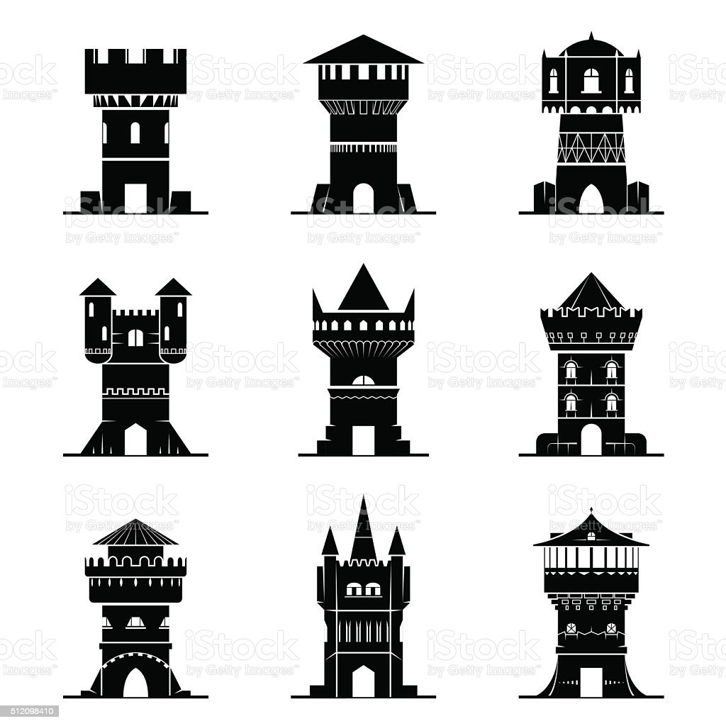 Set of black-and-white tower icons vector art illustration
