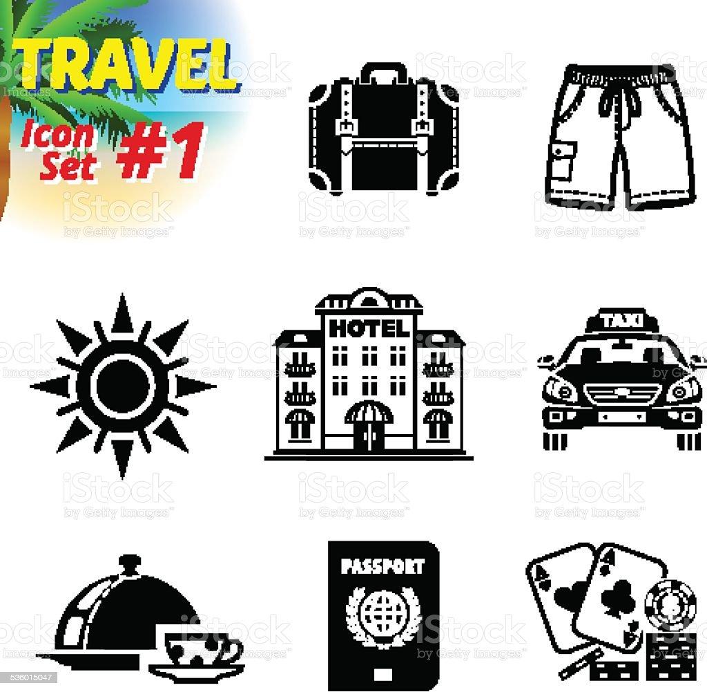 Set of black-and-white travel icons vector art illustration