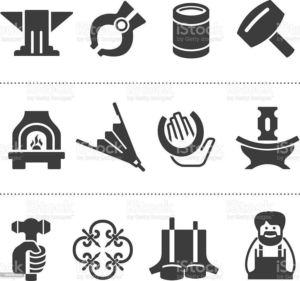 Set of blacksmithing icons royalty-free stock vector art