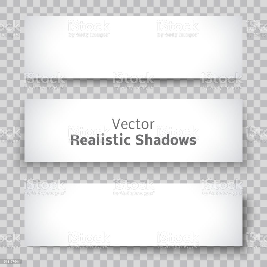 Set of blank banner sheet paper with shadow vector art illustration