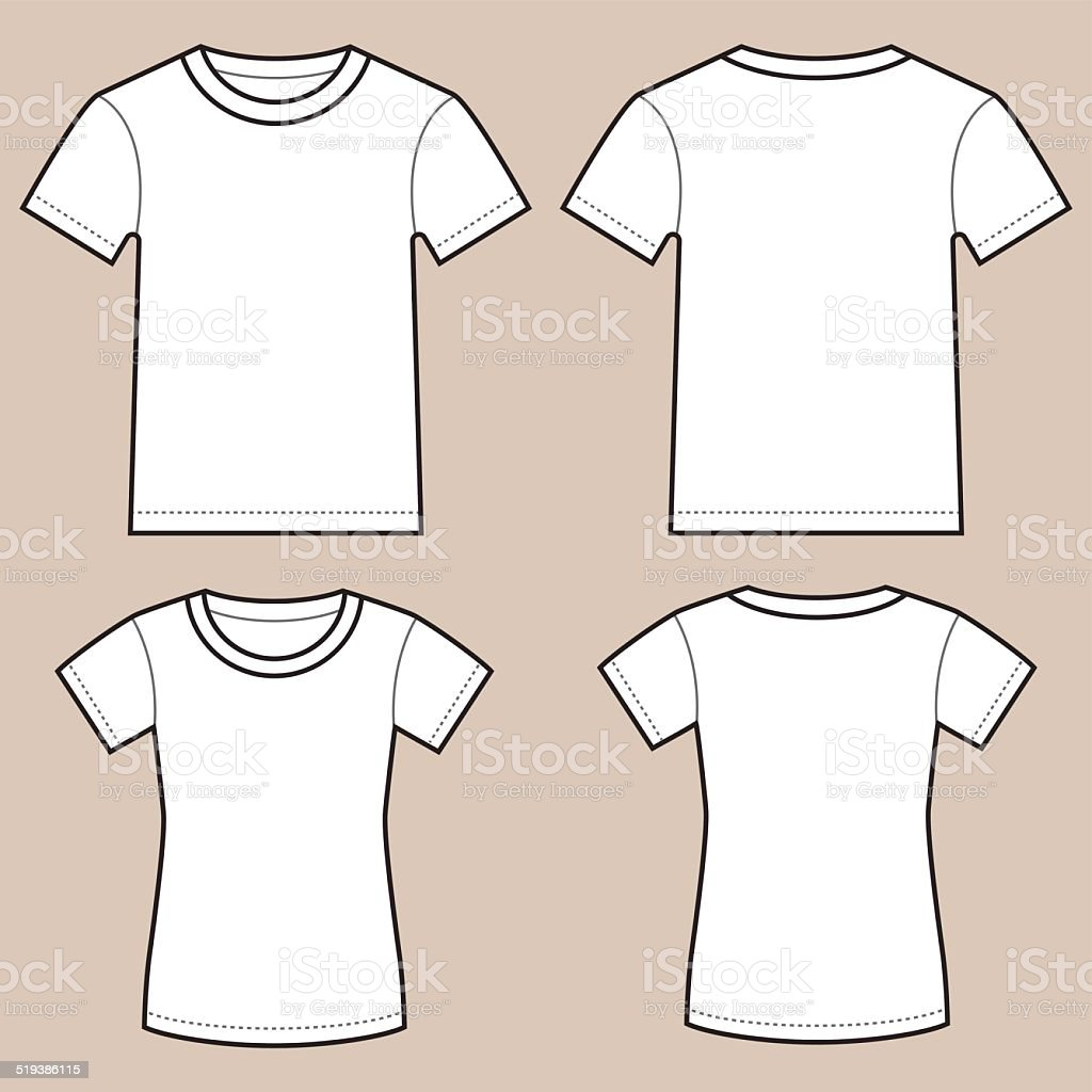 Set Of Blank Male And Female Shirts vector art illustration
