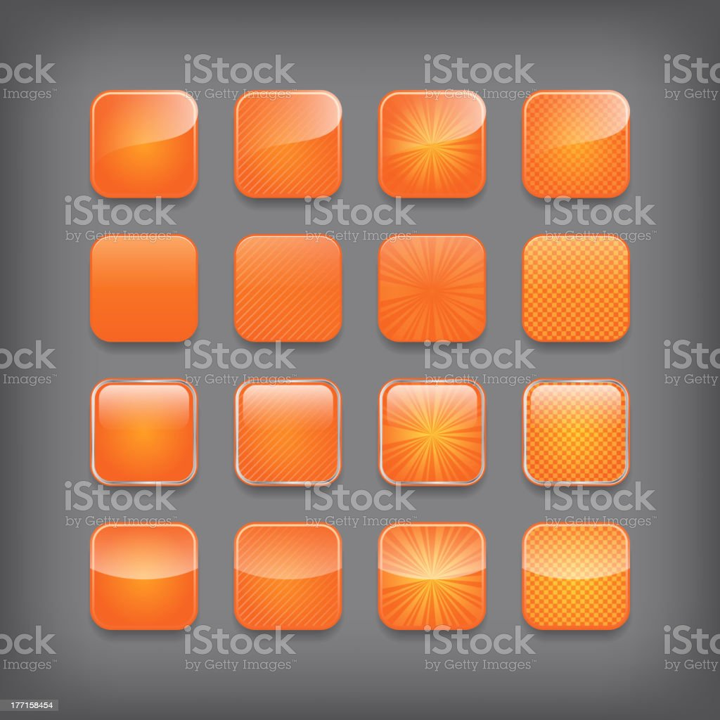 Set of blank orange buttons royalty-free stock vector art