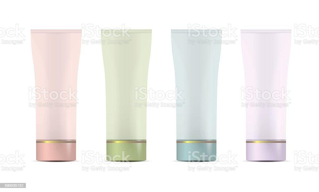 Set of Blank plastic tubes for cosmetics vector art illustration