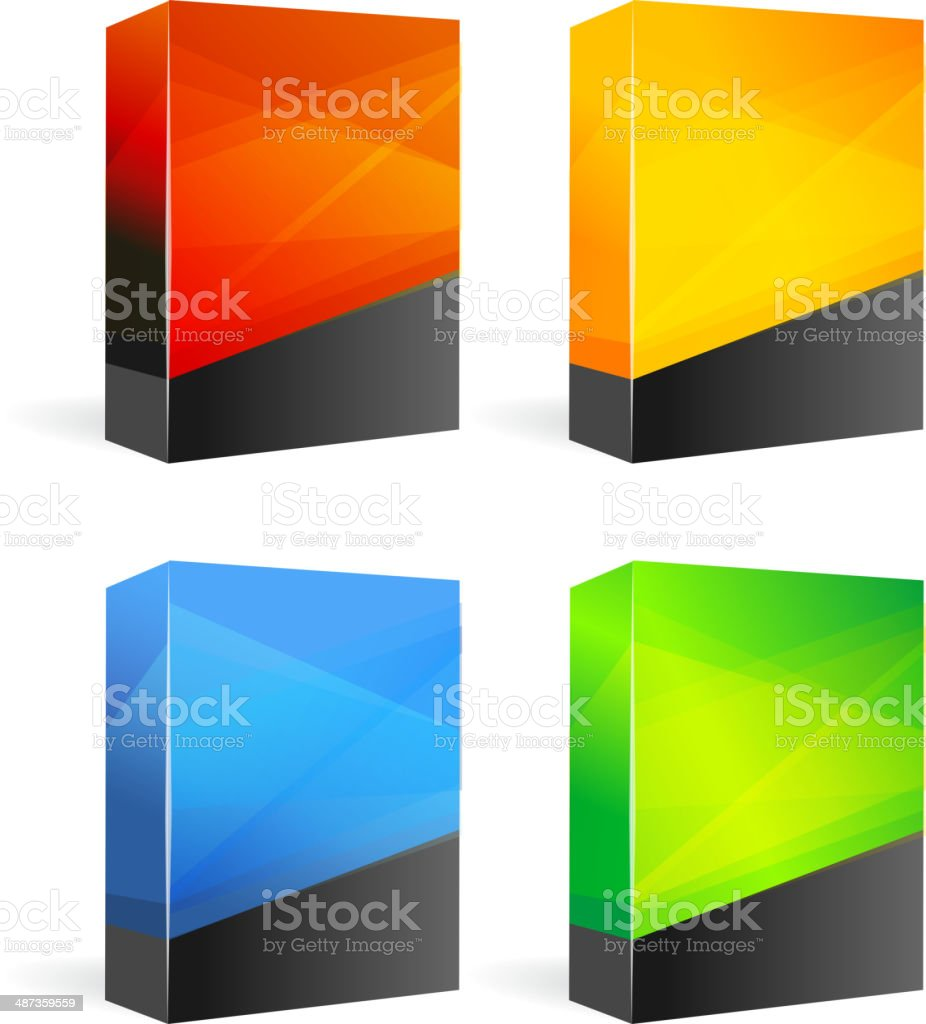 Set of Blank Product Boxes vector art illustration