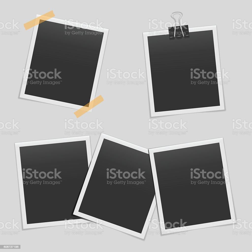 Set of blank realistic photo frames mockup vector art illustration
