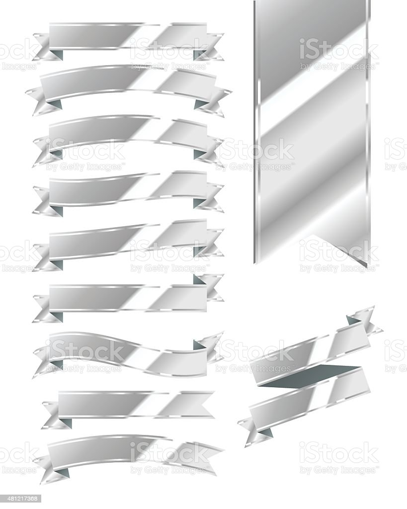 Set of Blank Silver Ribbons vector art illustration