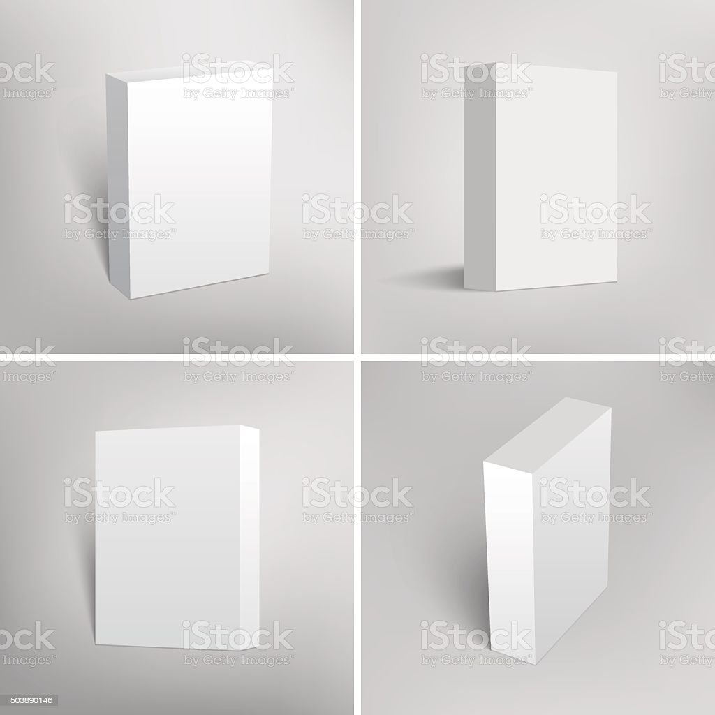 Set of blank white packaging boxes for software design vector art illustration