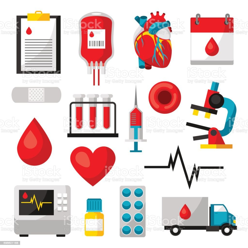 Set of blood donation items. Medical and health care objects vector art illustration