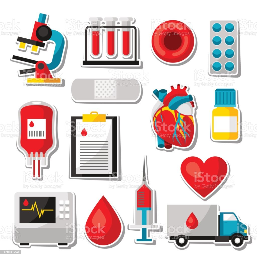 Set of blood donation items. Medical and health care sticker objects vector art illustration