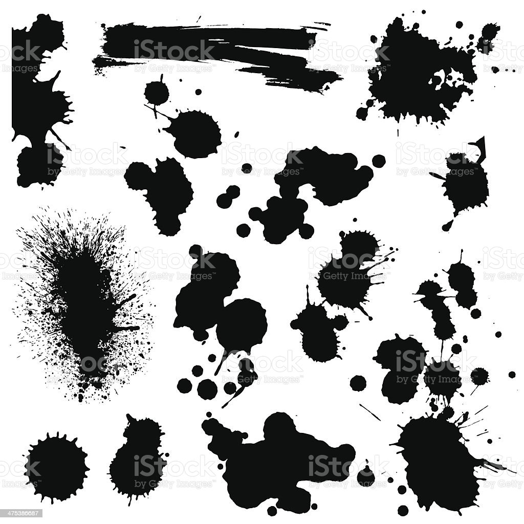 Set of blots and splashes vector art illustration