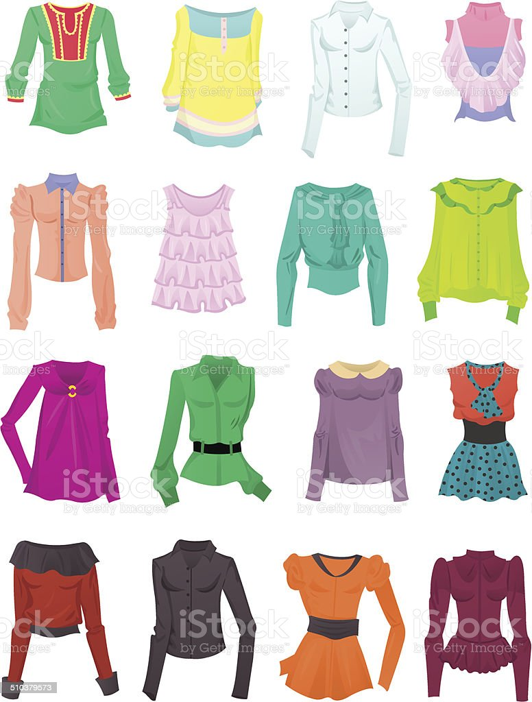 Set of blouses and tops vector art illustration