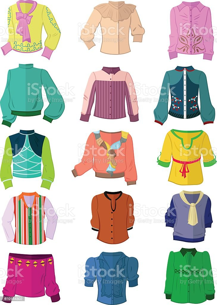 Set of blouses in flat design vector art illustration