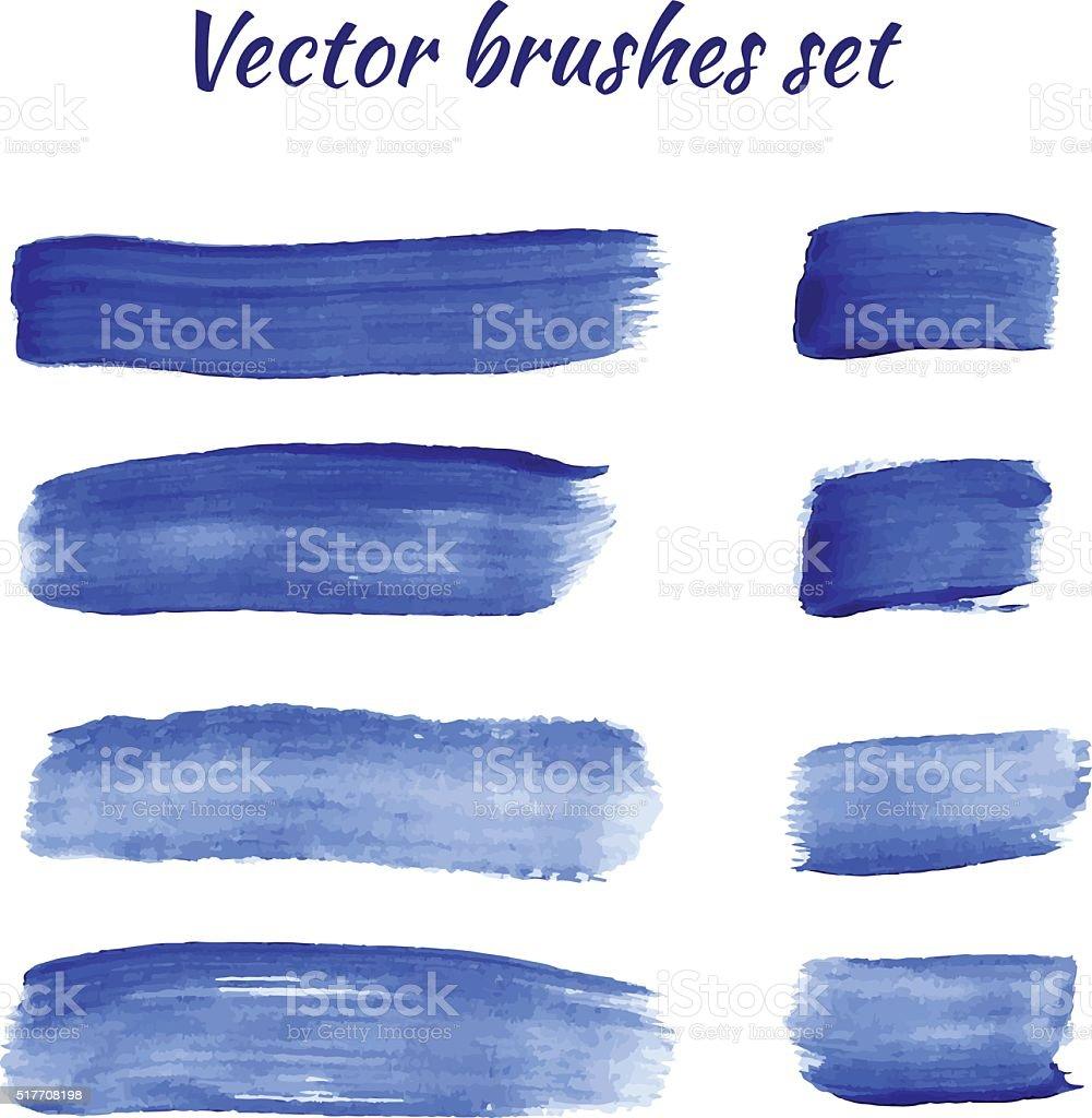 Set of blue acrylic brush vector strokes vector art illustration