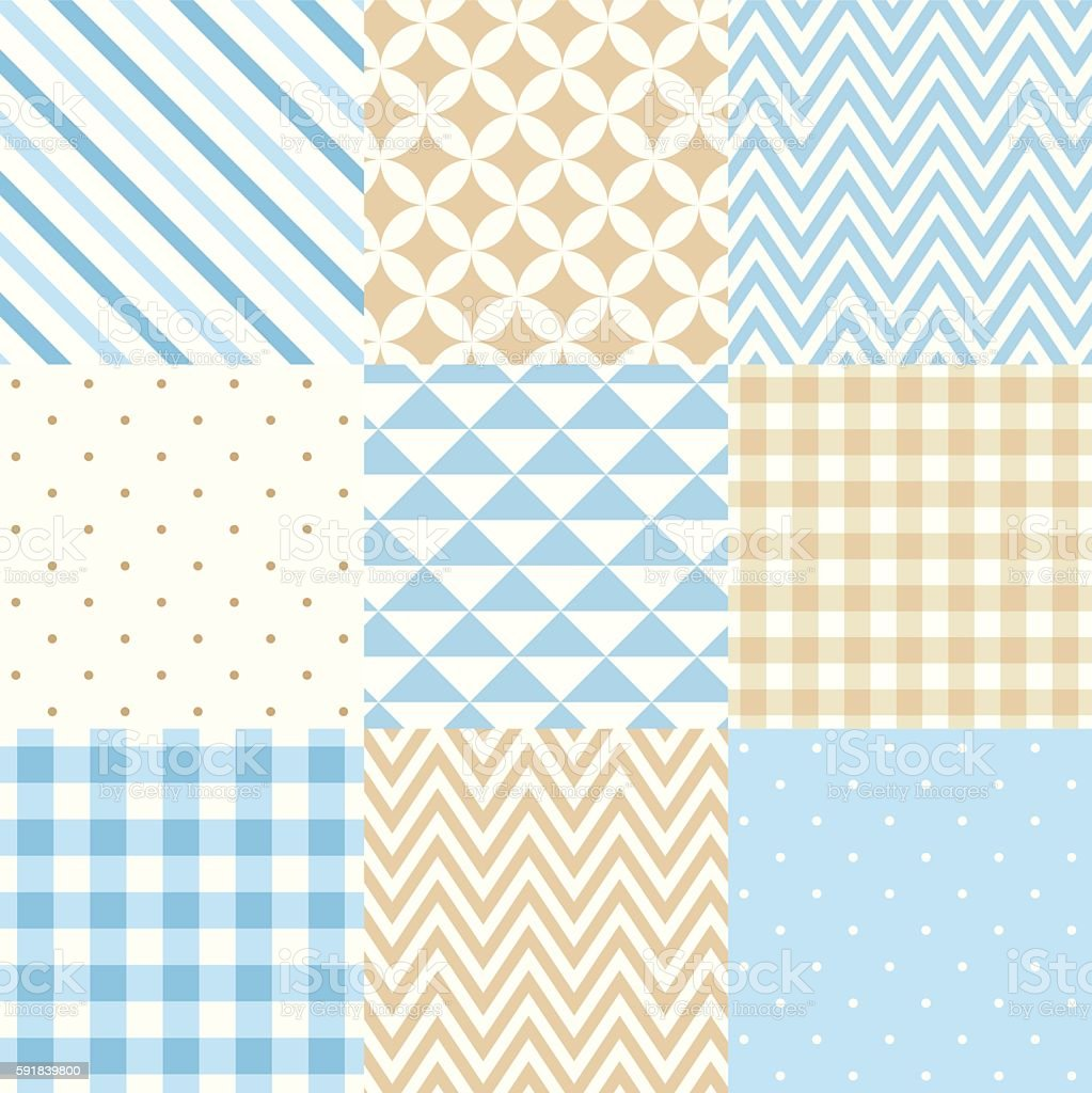 Set of blue and beige seamless geometric patterns. Vector illustration. vector art illustration