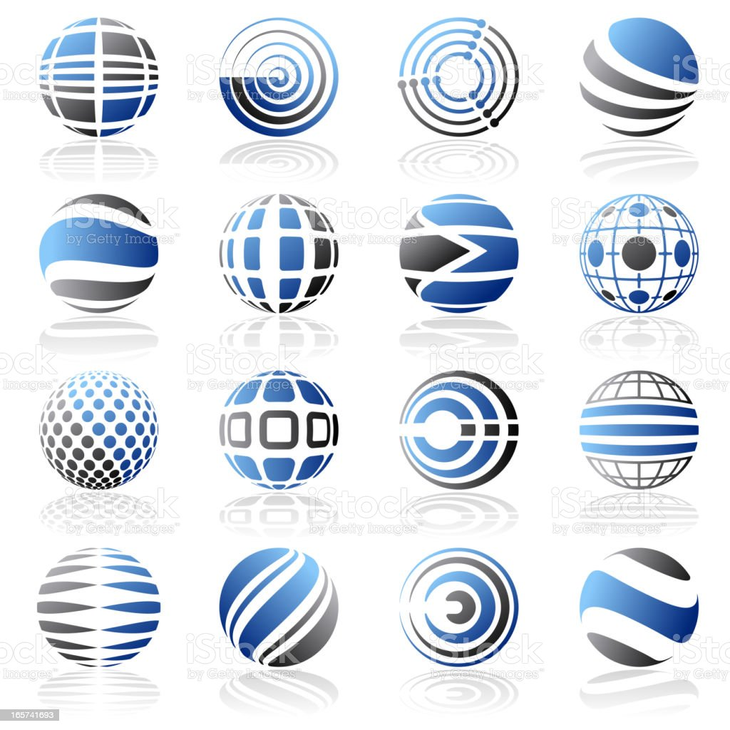 Set of blue and black abstract design elements on white royalty-free stock vector art