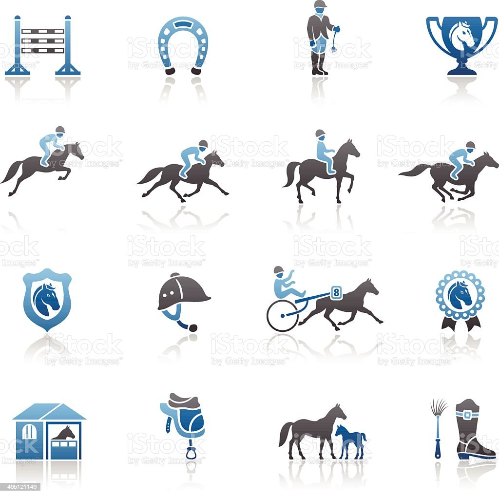Set of blue and gray horse racing icons on white background vector art illustration